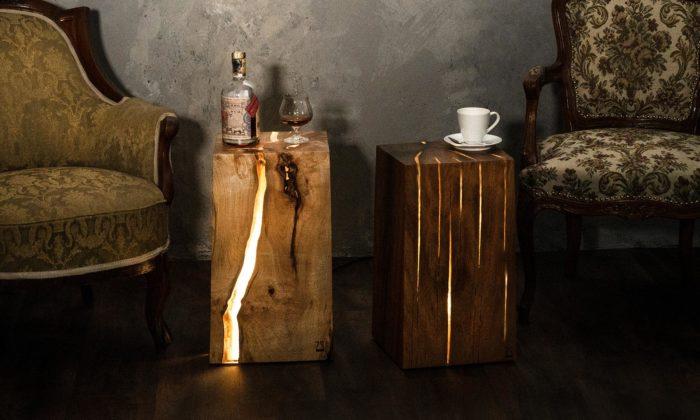 Česká značka Stool ručně vyrábí svítící stolky zmasivního dřeva apryskyřice