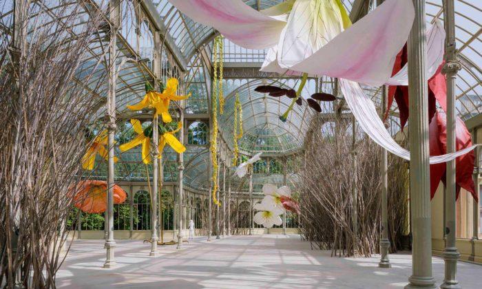 Madrid proměnil Křišťálový palác naobří hnízdo plné květin vnadživotní velikosti