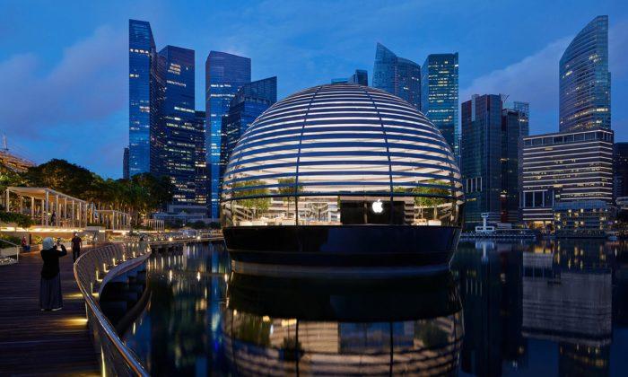 Foster postavil vSingapuru plovoucí obchod Apple Marina Bay Sands stvarem koule