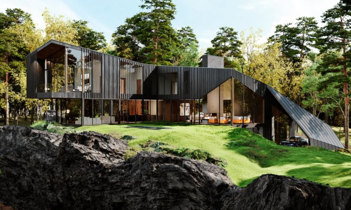 Designéři zAston Martin navrhli rezidenci Sylvan Rock odrážející design sportovních vozů