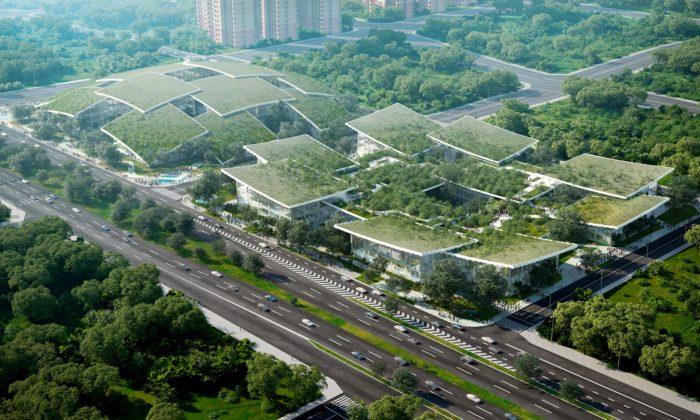 BIG navrhli umělou inteligencí řízené zelené město stvarem kopce aúdolí