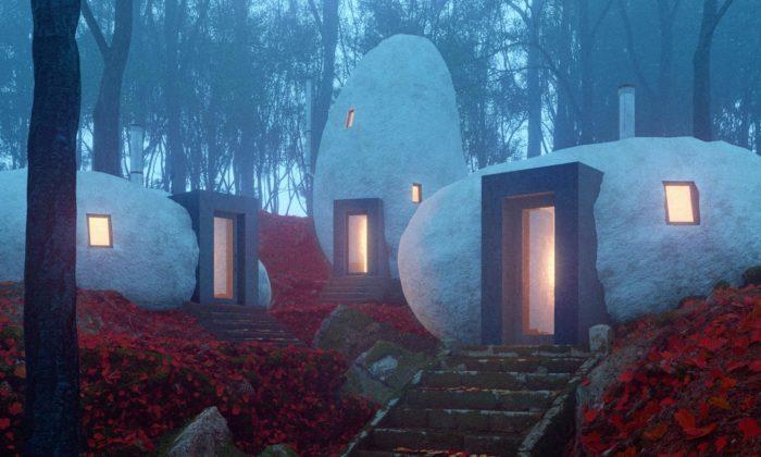 Dolmen Shleter jetrojice domků stvarem obřích kamenů usazených naokraji lesa