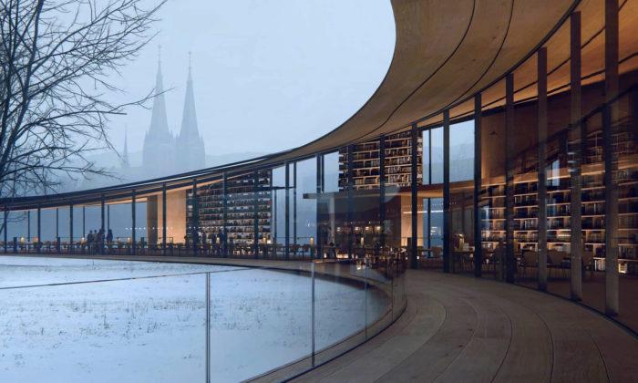 Kengo Kuma navrhl prohnutou skleněnou knihovnu nad norským městem Skien