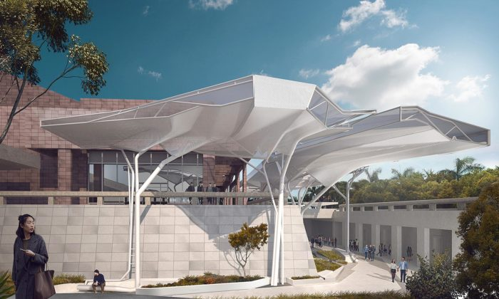 Muzeum umění Kaohsiung dostane pomodernizaci futuristický bílý přístřešek