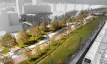 Drážní promenáda a liniový park v Praze