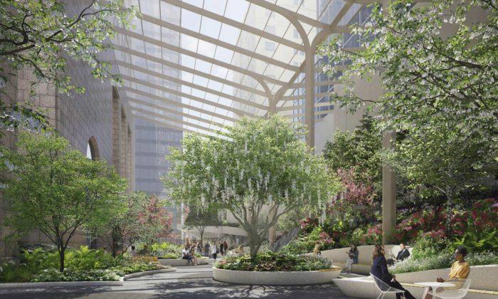 V centru New Yorku vzniká mezi dvěma domy zastřešená veřejná zahrada
