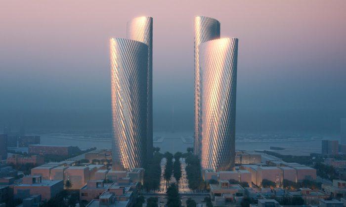 Foster postaví vKataru čtyři zkroucené věže sfasádou chráněnou hliníkem