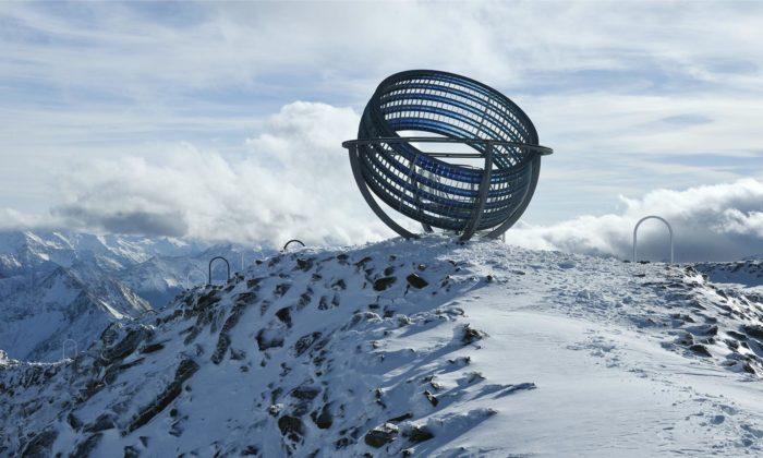 Olafur Eliasson postavil navrchol hory Grawand unikátní sluneční hodiny