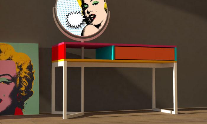 Plzeňští designeři vystavují vPlzni pop-artový stolek iptačí budky