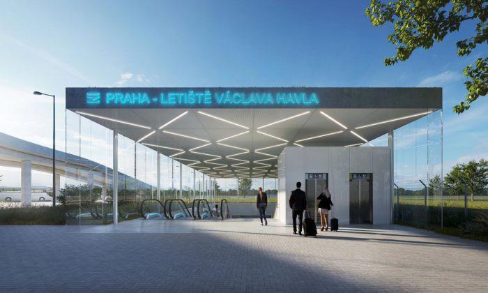 Plánovaná železniční stanice Letiště Václava Havla dostala svou podobu