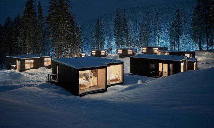 U lanovky naslovenský Chopok vyrostly malé rekreační domky pro hotel Björnson