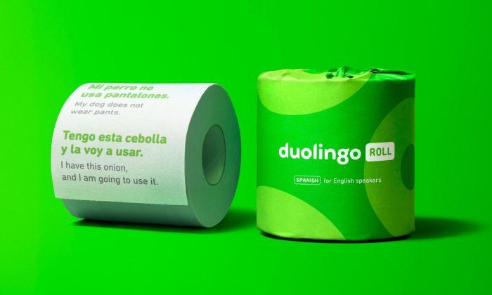 Duolingo Roll jetoaletní papír učící vás cizí jazyk přinávštěvě toalety