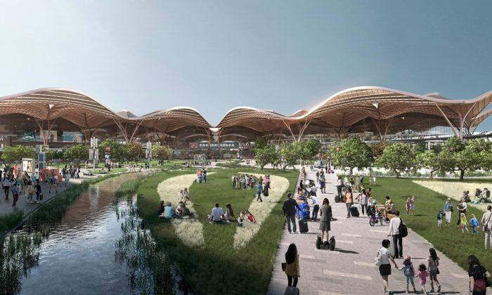 Grimshaw postaví vShenzhenu zkroucený letištní terminál sdopravním uzlem