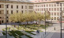Náměstí u Masarykova nádraží v Praze
