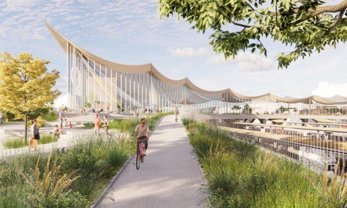 BIG navrhli docentra švédského města Västerås dopravní hub připomínající vlnobití