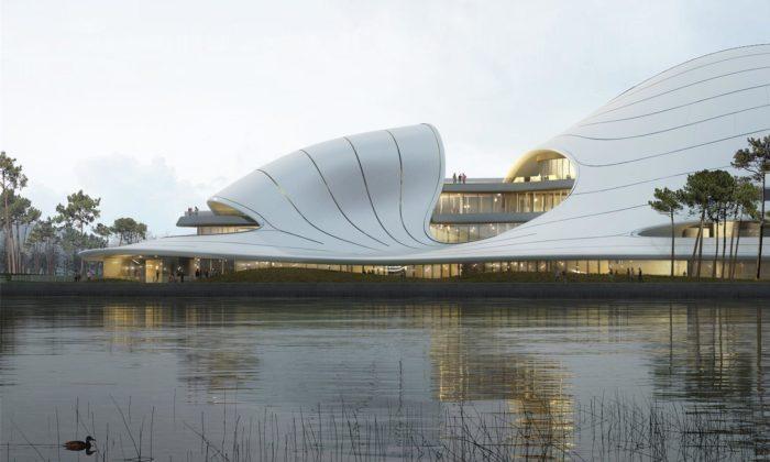 MAD postaví organicky tvarované Jiaxing Civic Center sezeleným srdcem