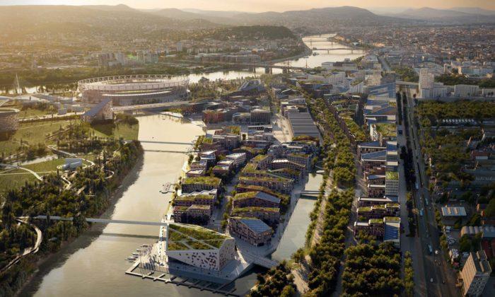 Bývalá průmyslová čtvrť vBudapešti sepromění podle návrhu ateliéru Snøhetta
