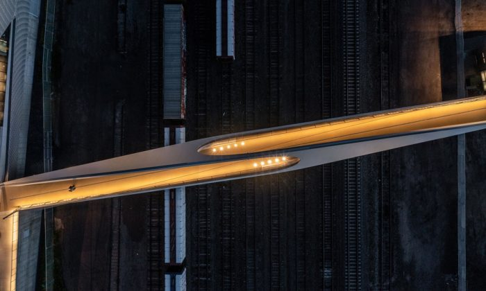 Most pro pěší acyklisty Park Union Bridge dostal podobu dvou propojených smyček