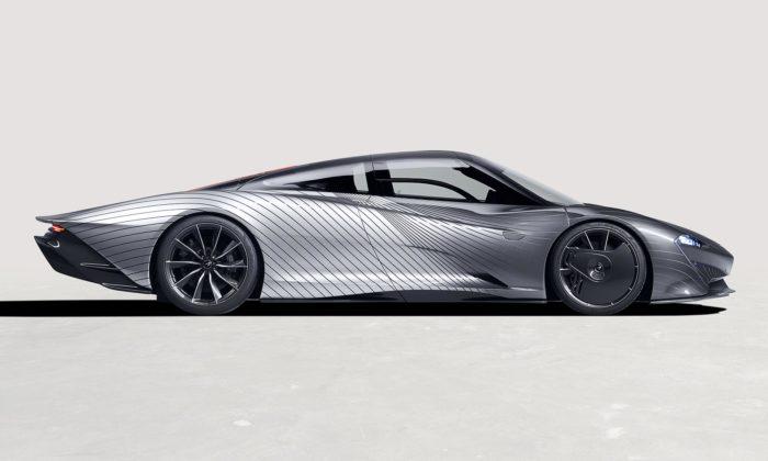 McLaren Speedtail Albert jeunikátně lakovaný sporťák ukazující aerodynamické proudění