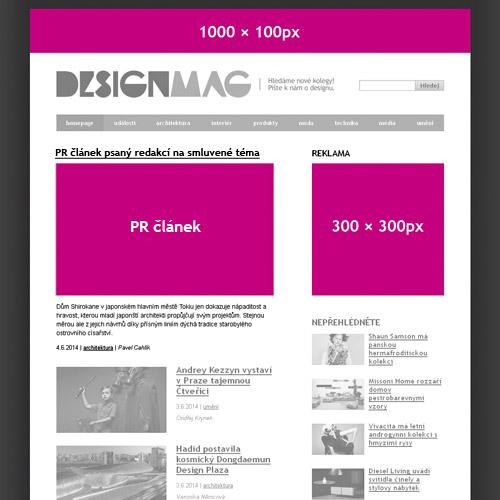 Reklamní plochy DesignMag.cz