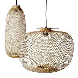 Závěsná bambusová svítidla Bamboo ve dvou tvarech
